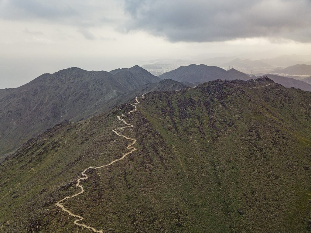 arealial view of khor fakkan al rabi hiking trail