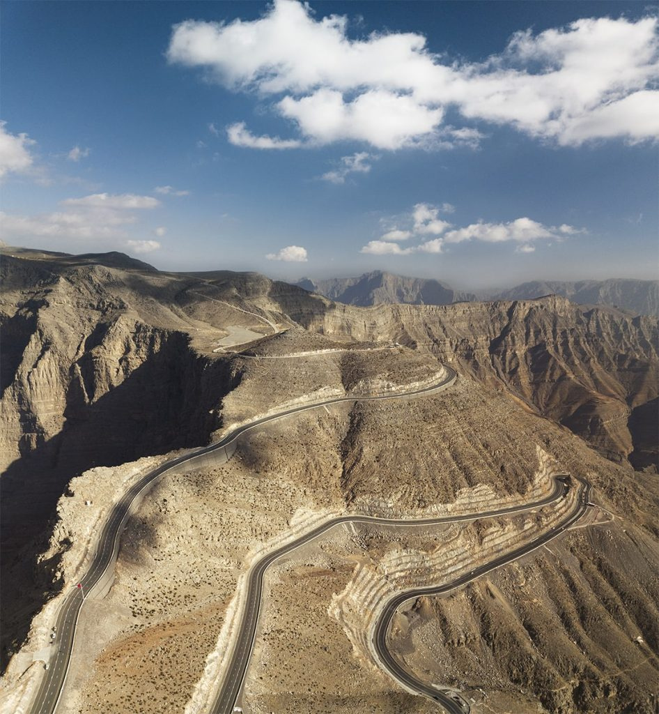 Jebej Jais road aerial view with clouds