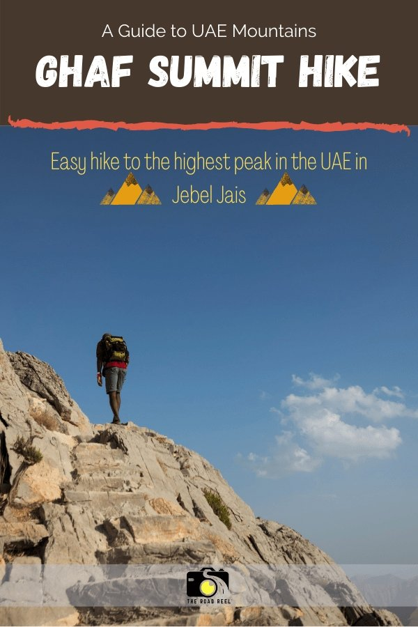 Man hiking UAE Jebel Jais Ghaf summit trail