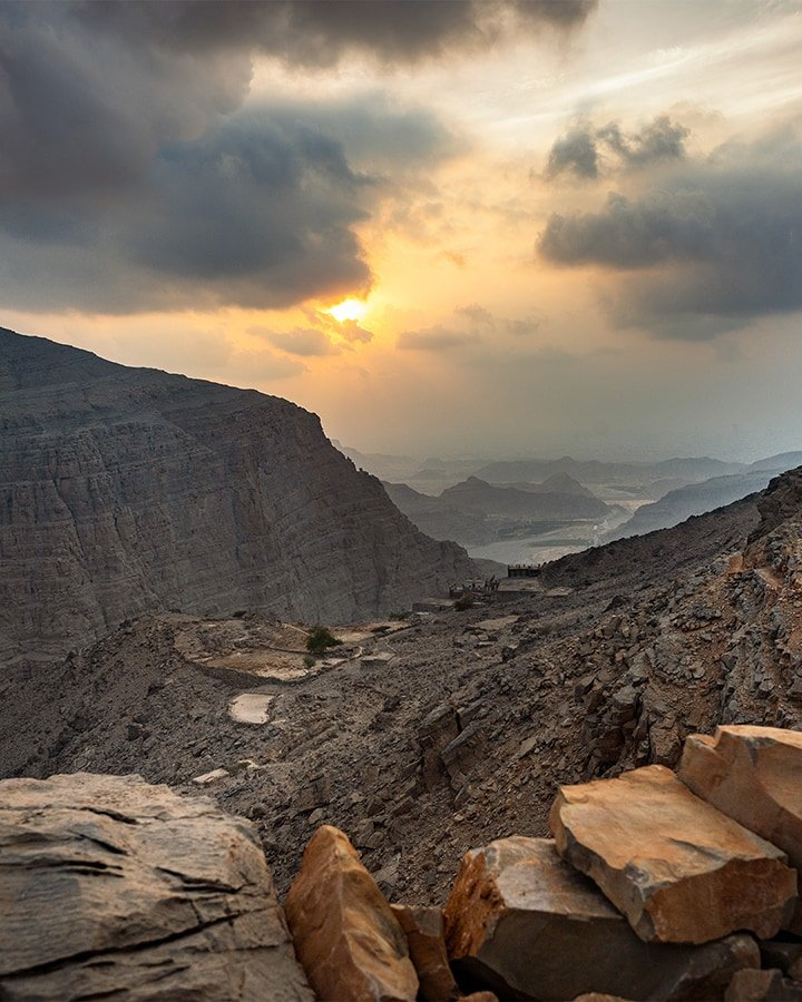 mountain village at sunset in jebel jais area uae