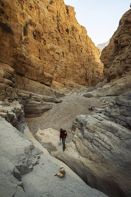 a man in the gorge hiking in uae