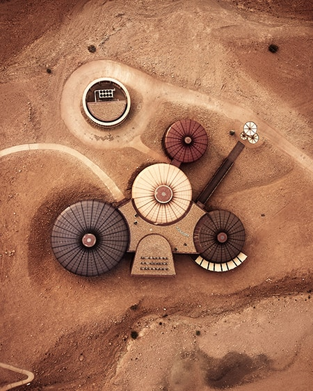 top down drone photo of space station like architecture of buhais geology park in sharjah uae