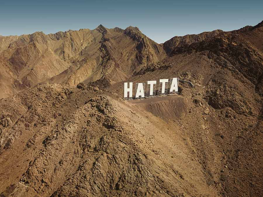 Hatta hollywood sign from above