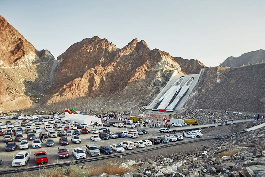 Hatta Dam park is busy during the national holiday of UAE
