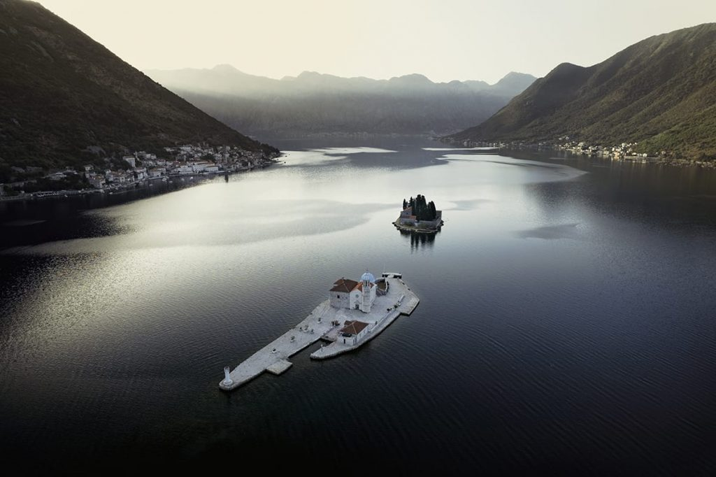 perast at sunrise drone photo montenegro road trip itinerary 2 weeks