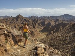 A woman hiking in wadi shawka united arab emirates ras al khaimah