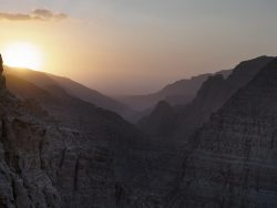mounatin range at sunset in wadi naqab uae